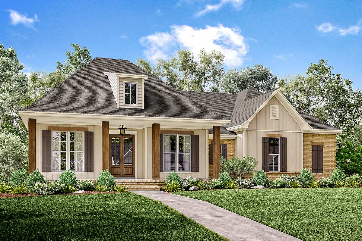 3 bed acadian home plan with bonus over garage 51742hz for Home over garage plans