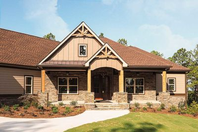 Craftsman House Plan With 3 Car Angled Garage   36075DK Thumb   03