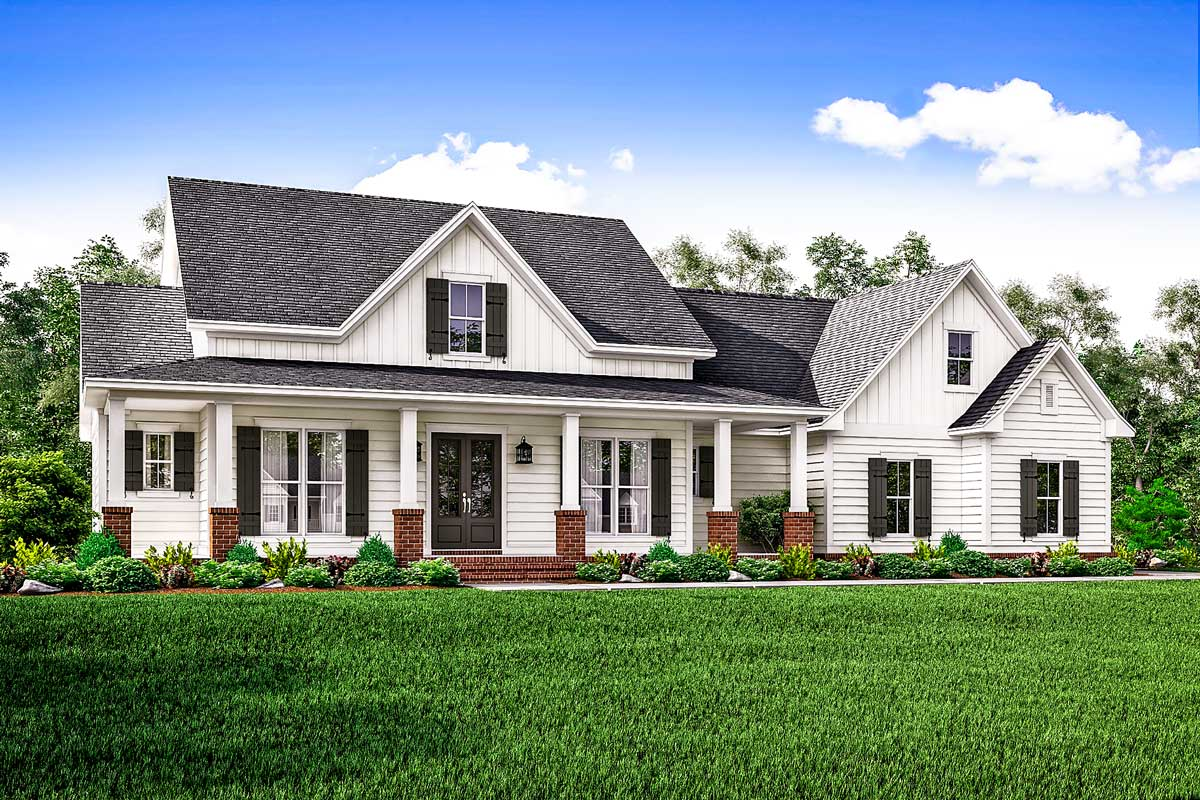 Country house plan with flex space and bonus room for Architectural designs farmhouse
