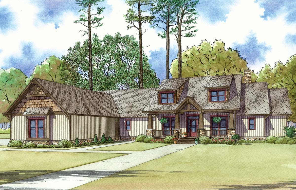 Mountain style 4 bedroom house plan with 2 bonus rooms for 4 bedroom house plans with bonus room