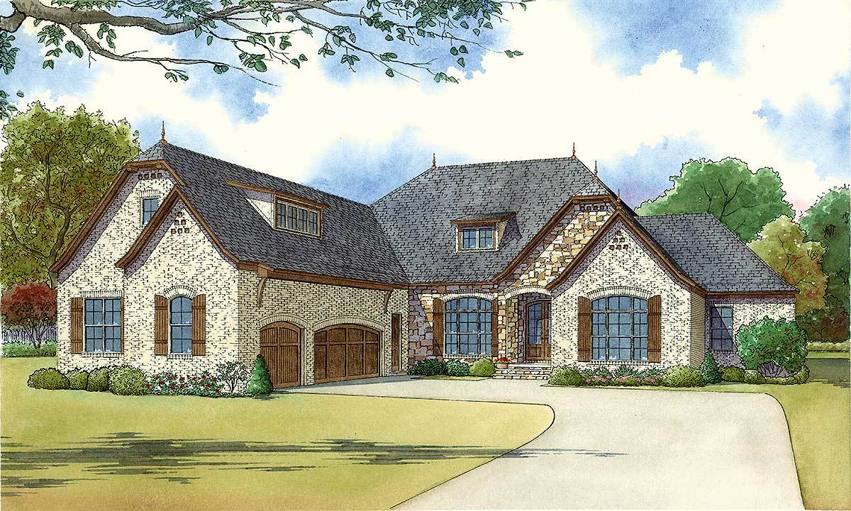 Four Bedroom Brick And Stone House Plan 70533mk