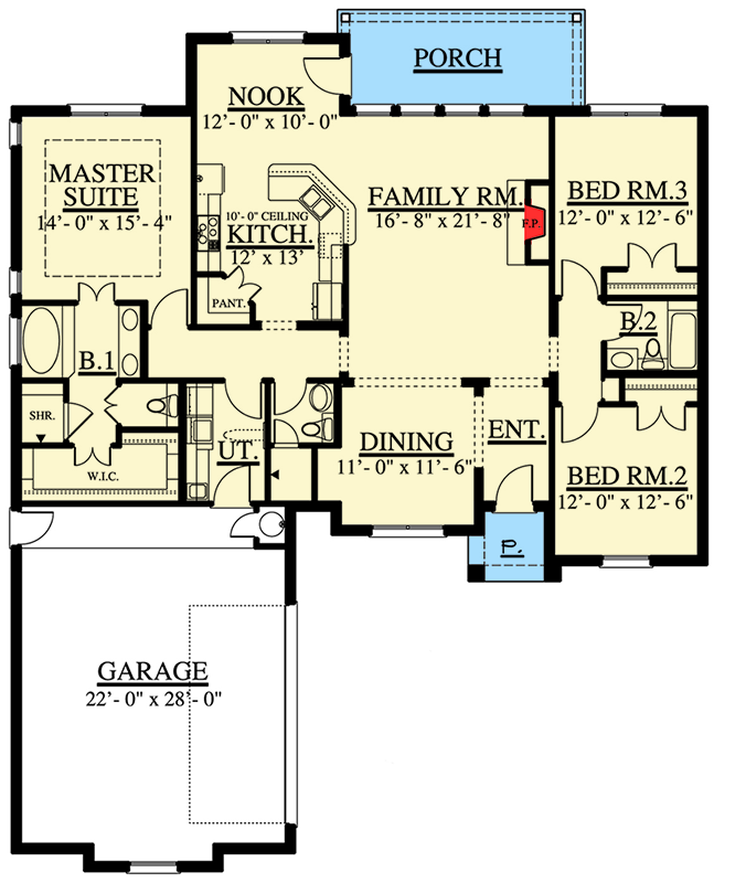 Split bedroom european house plan 915005chp 1st floor for Split master bedroom floor plans