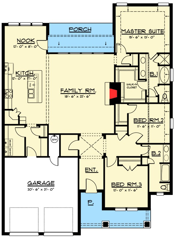 Compact three bedroom craftsman house plan 915006chp for 3 bedroom architectural designs