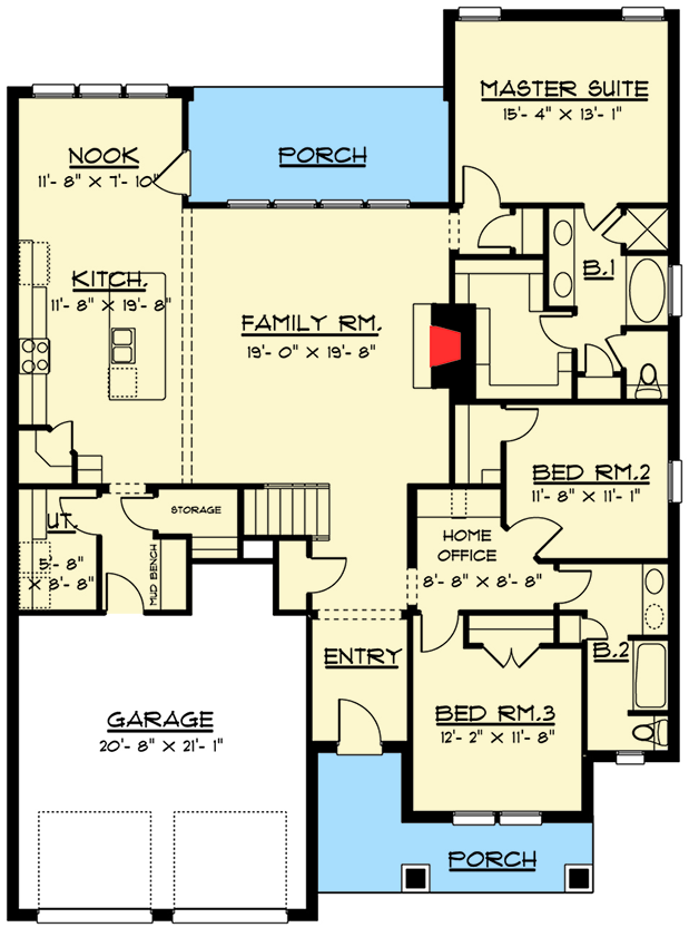 4 bed craftsman with upstairs game room 915014chp for House plans with game room on main floor
