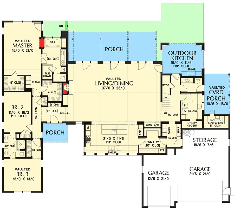 1st Floor Master 2 Car Garage Vaulted Ceiling In Kitchen: Dramatic Vaulted Great Room - 69636AM