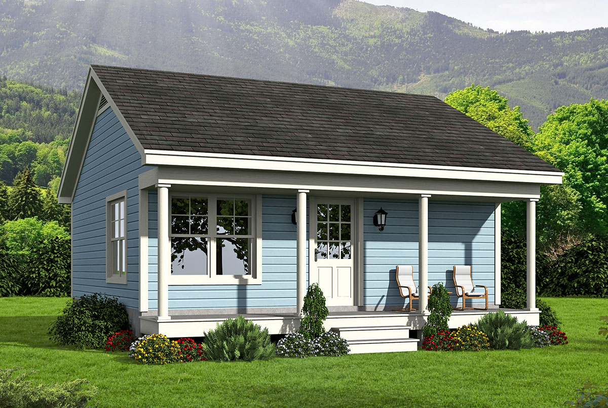 Small Home Plans: Tiny House Country Home - 68443VR