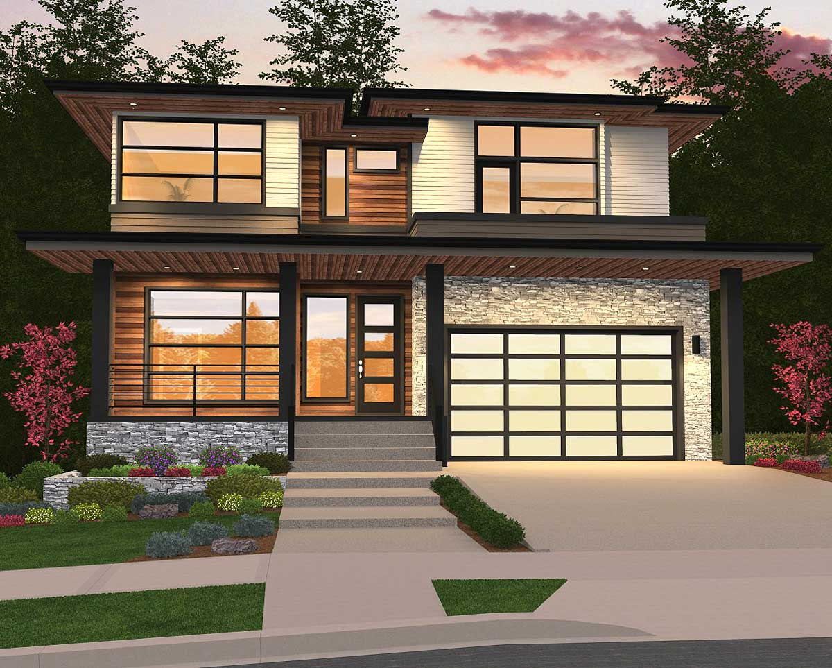 Modern Home Plan with 2 Master Suites - 85148MS ...