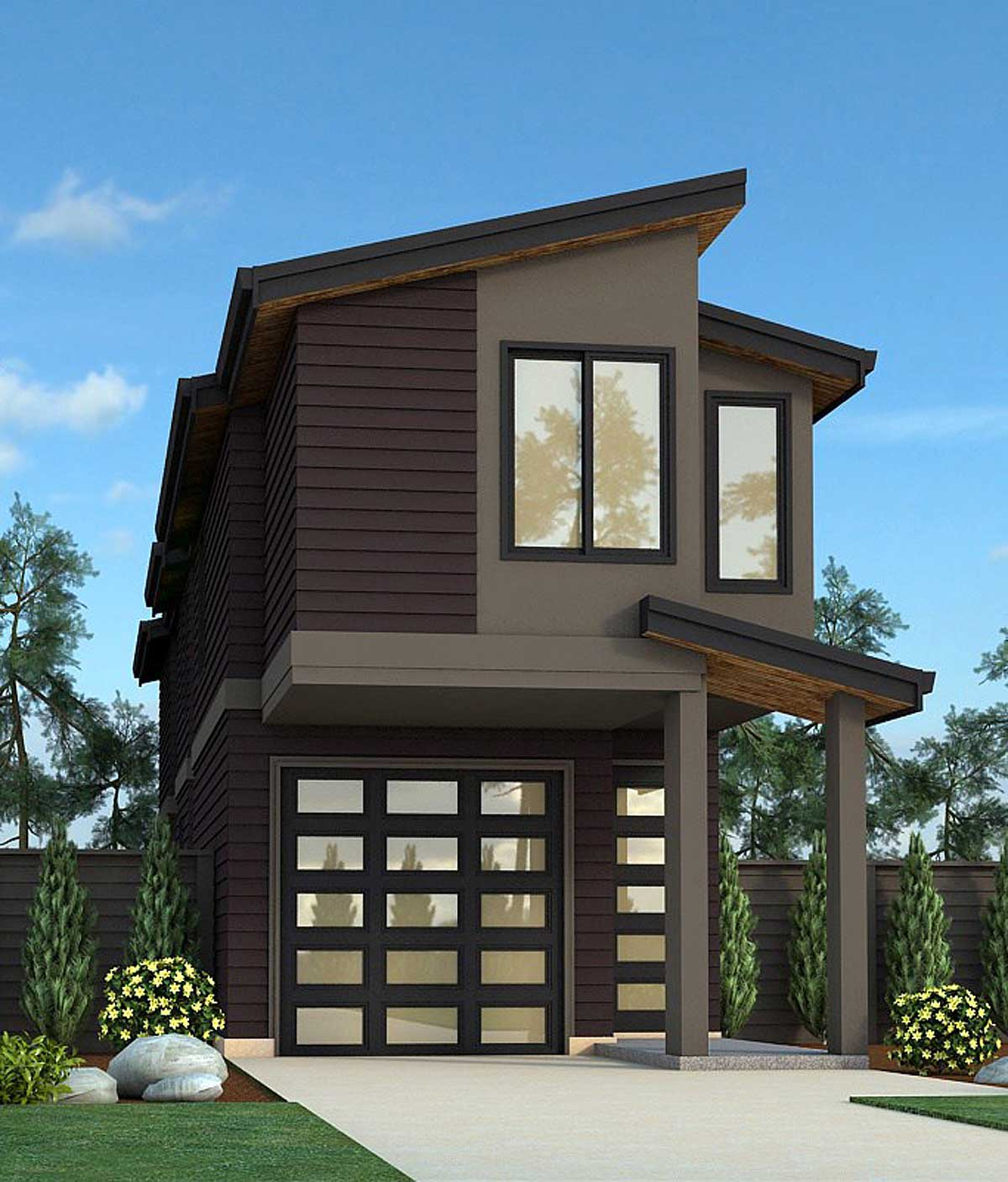 Narrow Lot Exclusive Contemporary House Plan