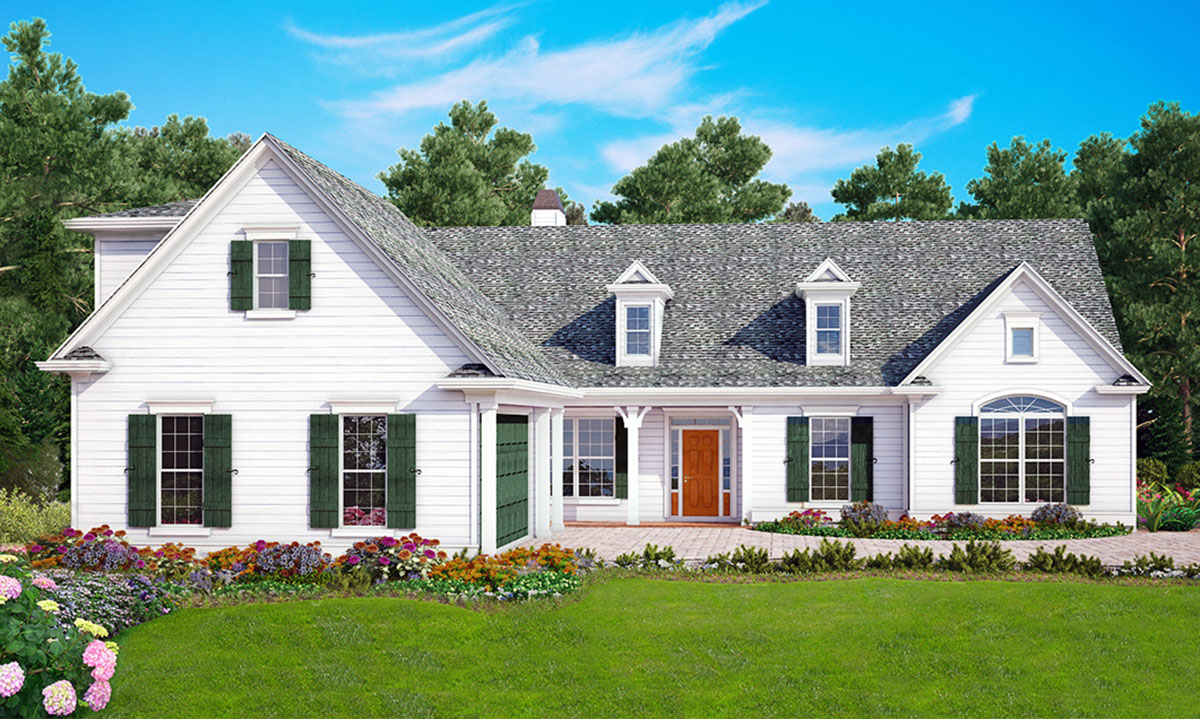 3 bed southern country style with 2 sided fireplace for Southern country home plans