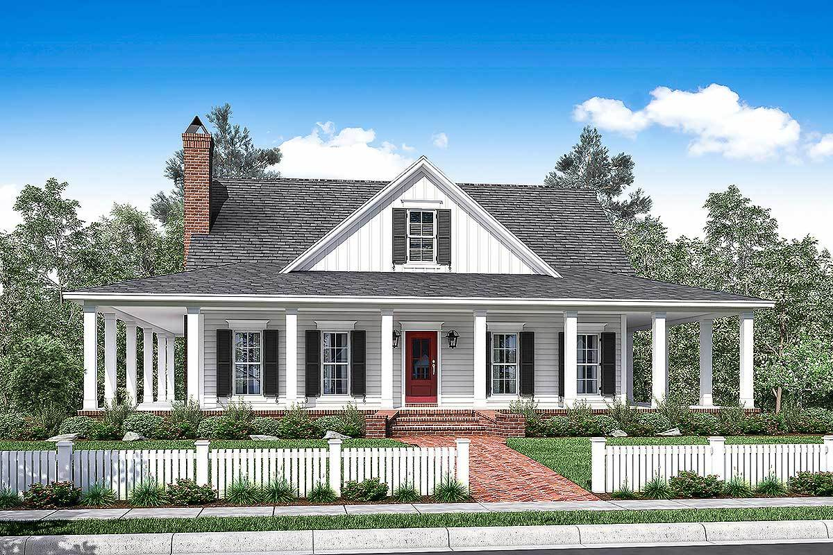 3 bed country house plan with full wraparound porch for Country style project homes