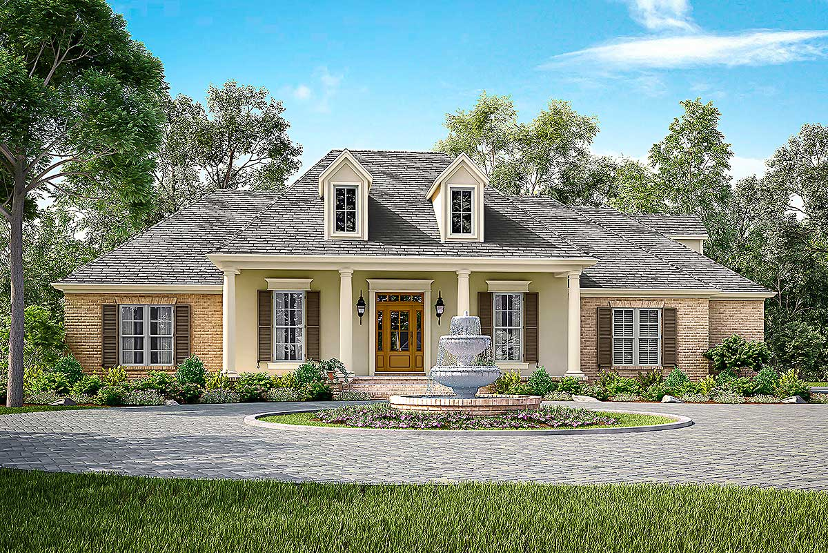 Elegant acadian house plan with three or four beds for Acadian house plans with bonus room