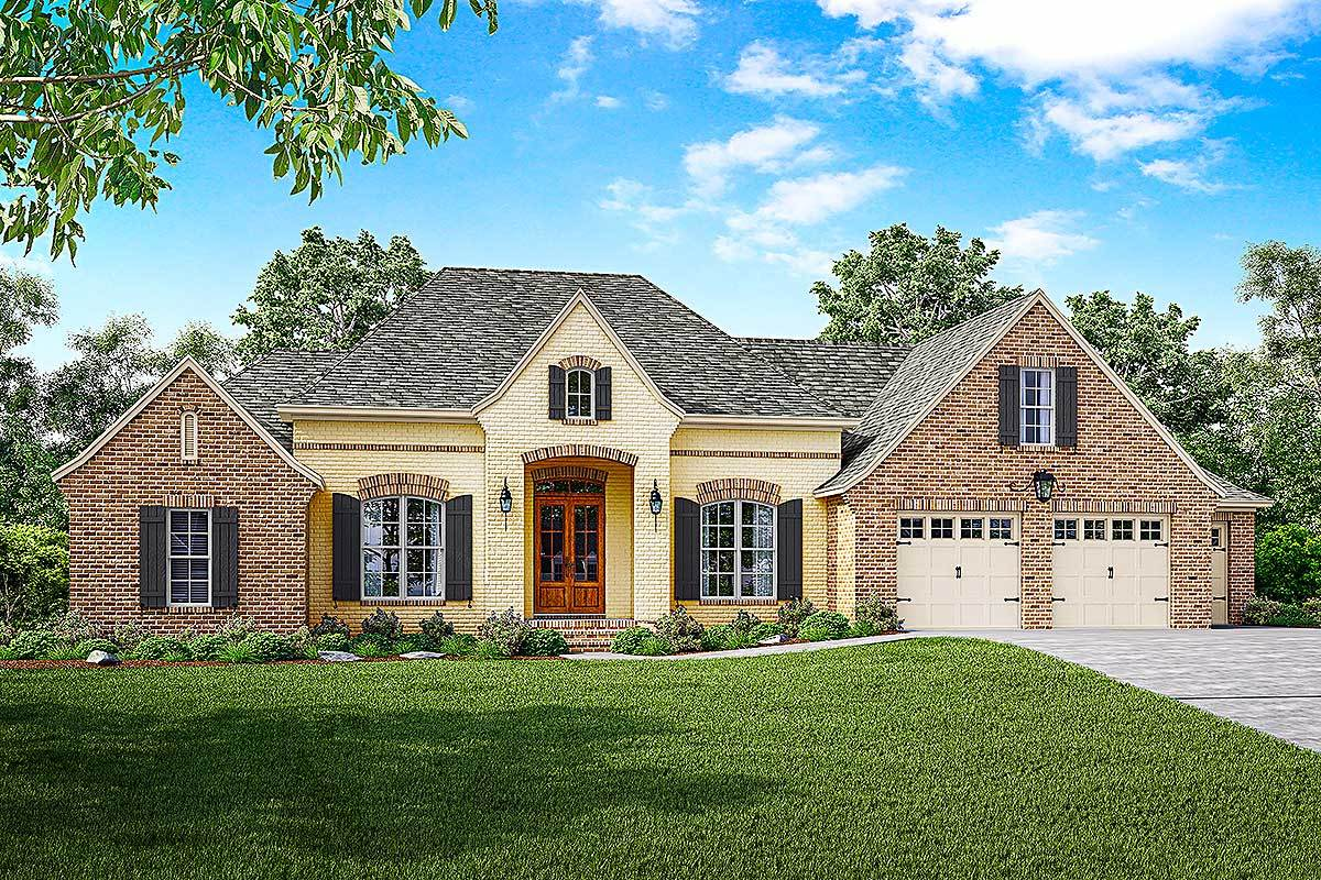 French country house plan with split bedrooms and a bonus for French provincial home plans