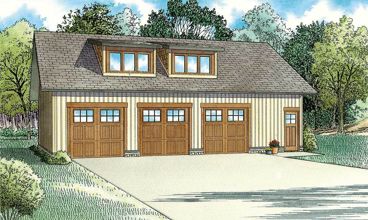 3 car craftsman style carriage house plan 60696nd for Craftsman garage plans