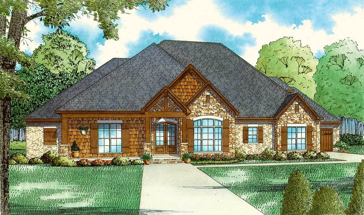 European  House  Plan  with Vaulted Great Room 60699ND