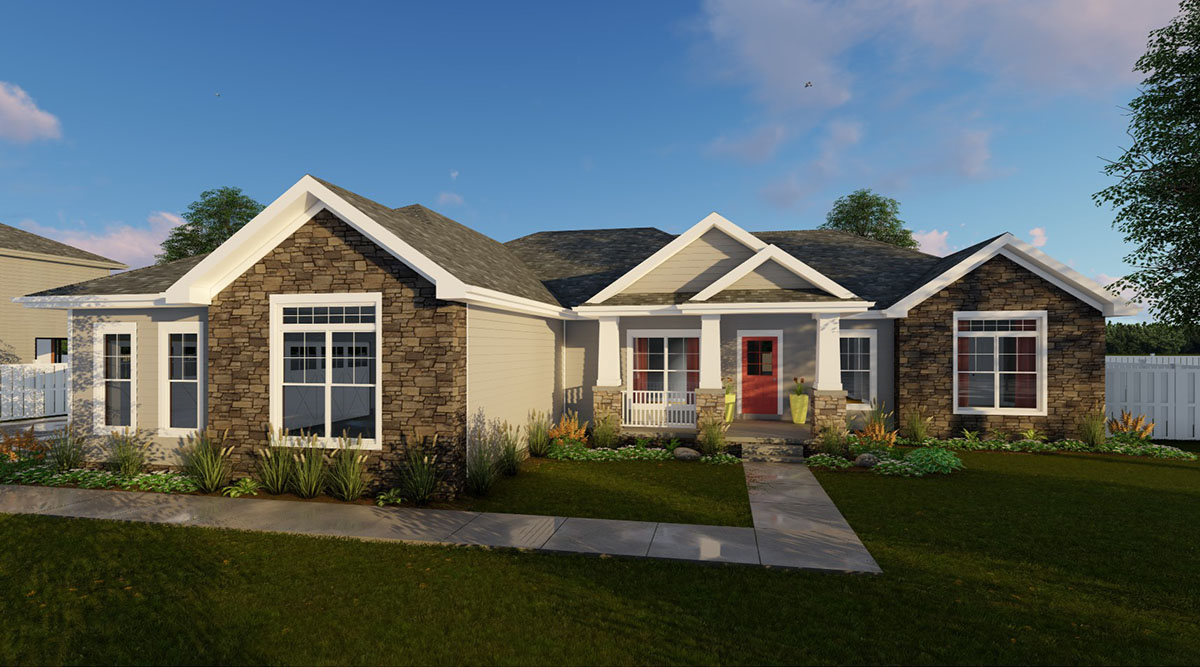 Three bed craftsman with side load garage 62657dj for Craftsman house plans with side entry garage