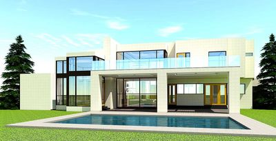 5 Bed Modern House Plan with 2-Story Central Living Area ...