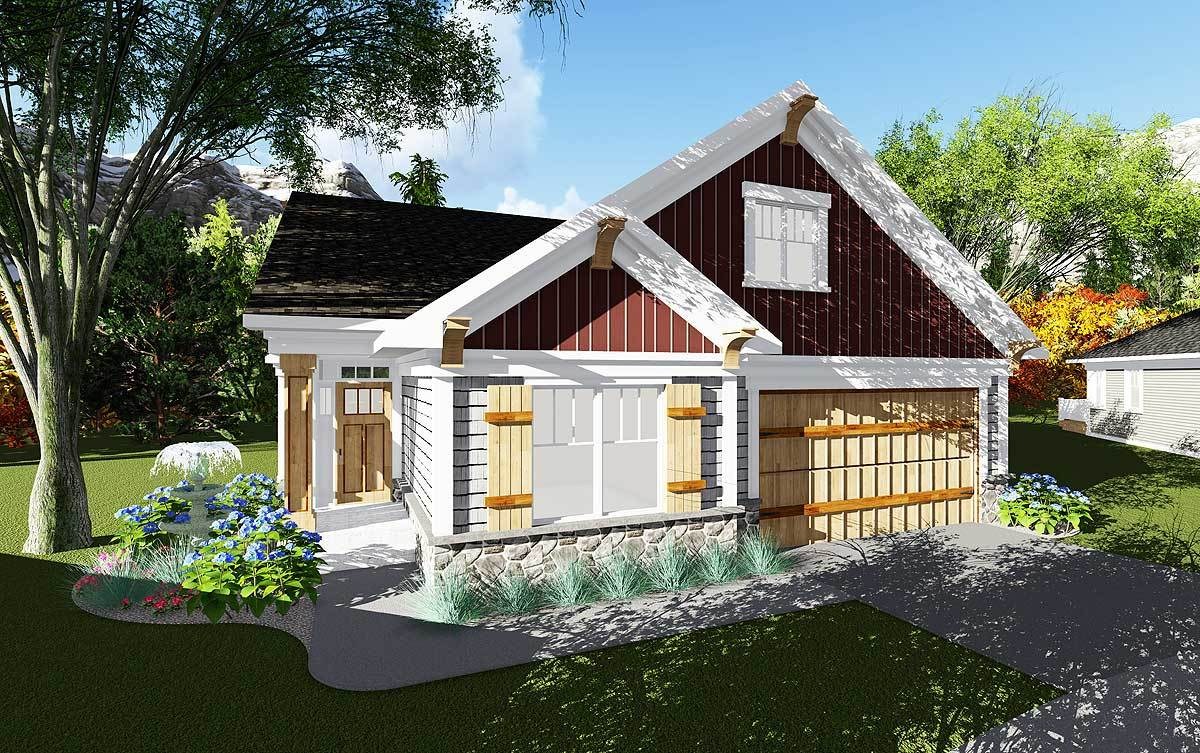 2 bed craftsman cottage with open concept floor plan for Open concept craftsman house plans
