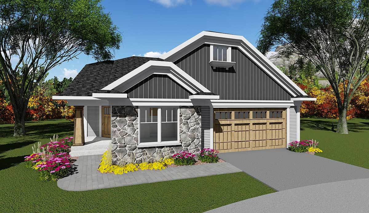 2 bed craftsman with angled side entry 890009ah for Angled entry house plans