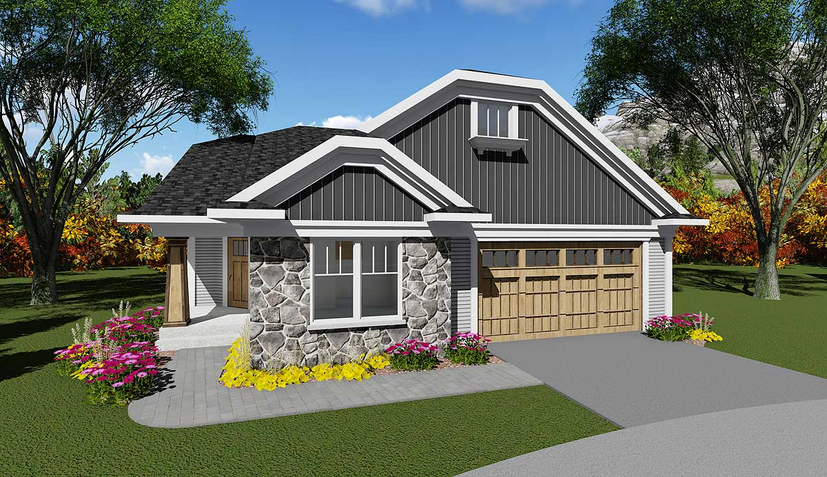 2 bed craftsman with angled side entry 890009ah for Craftsman house plans with side entry garage
