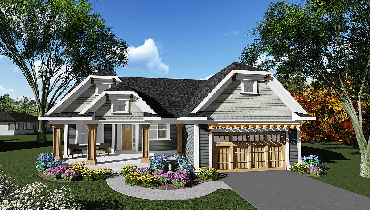 Craftsman ranch house plan with unique look 890013ah for Original craftsman house plans