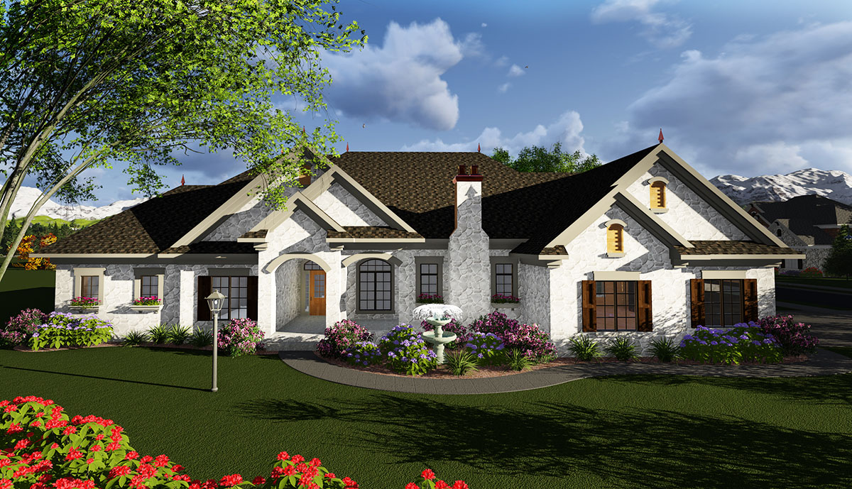 One story european house plan 890027ah architectural for European house