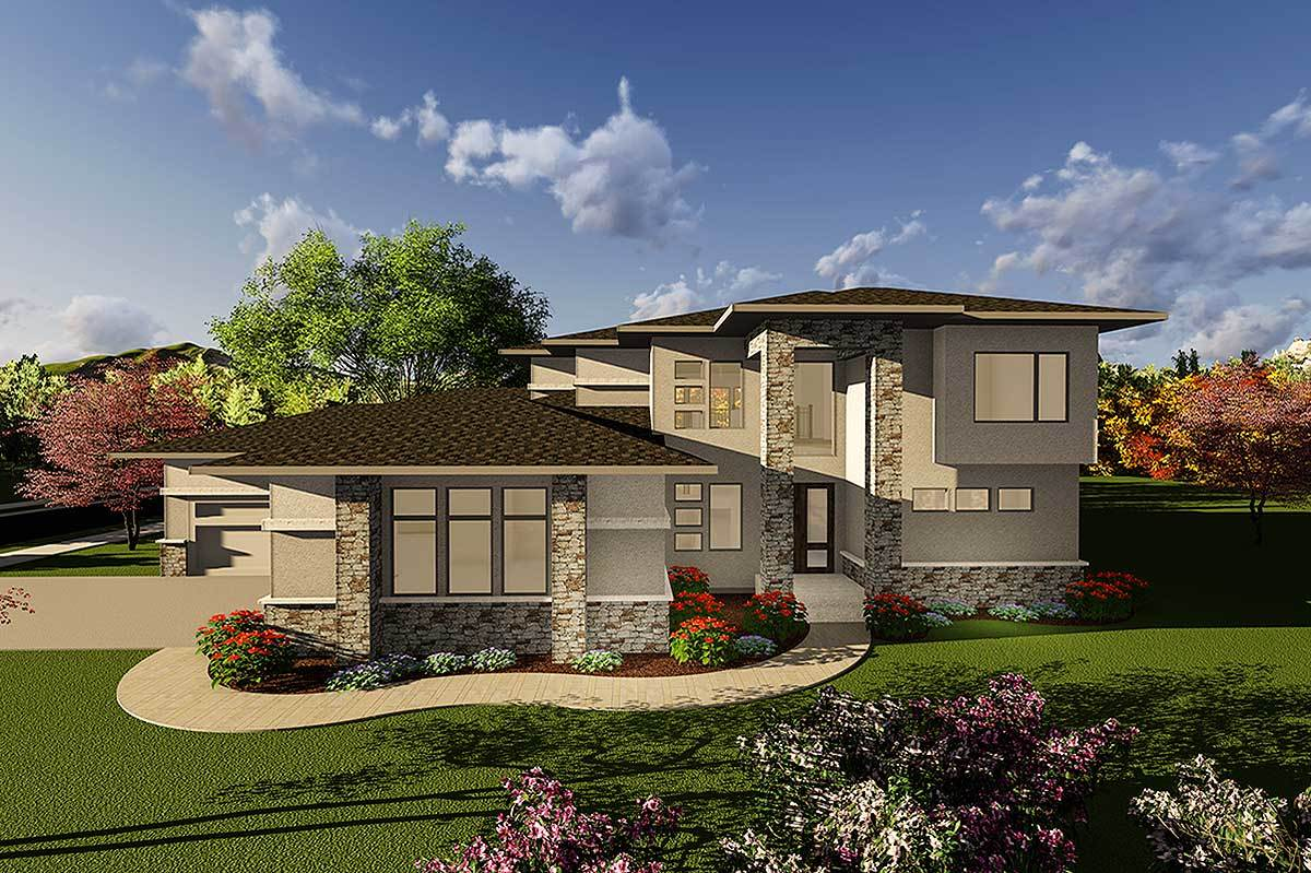prairie style house plan with two story ceilings 890030ah
