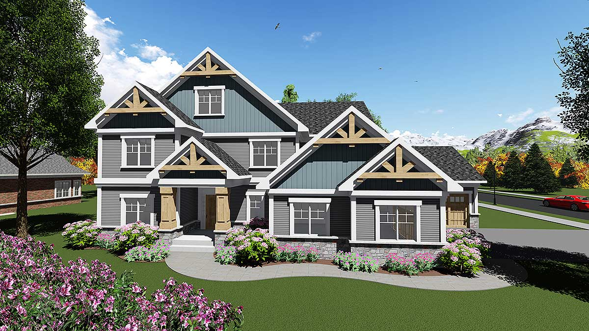 Handsome craftsman house plan with open floor plan for Open concept craftsman house plans
