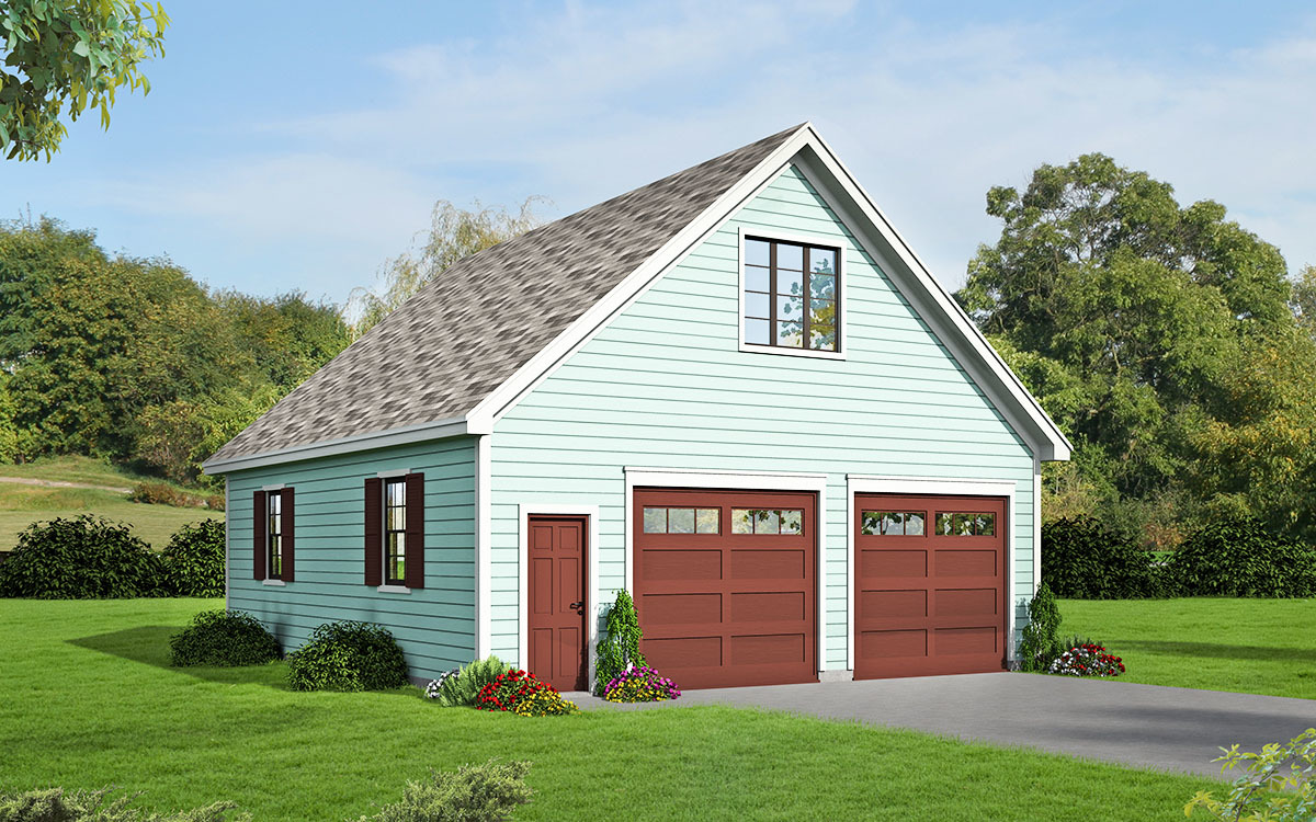 2 car detached garage with man cave above 68456vr for Detached garage plans