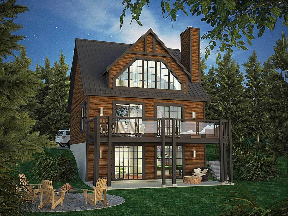 vacation cabin plans vacation home plan with rear facing views 15306