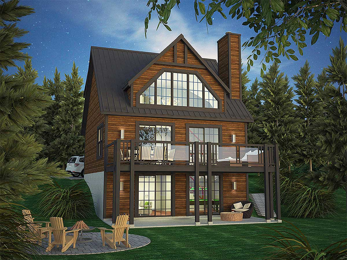 Vacation home plan with incredible rear facing views for Vacation cabin floor plans