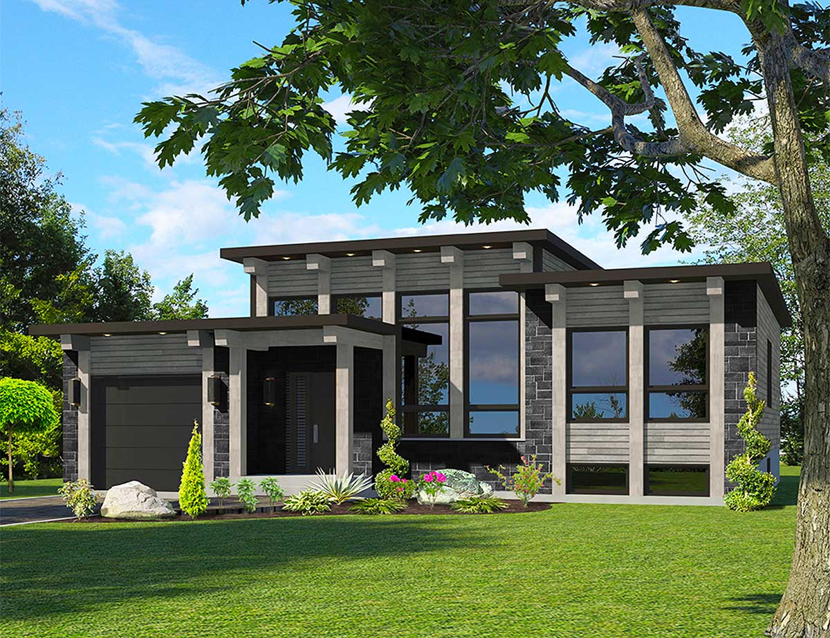 Attractive Modern House Plan - 90286PD | Architectural ... on Modern House Ideas  id=93612