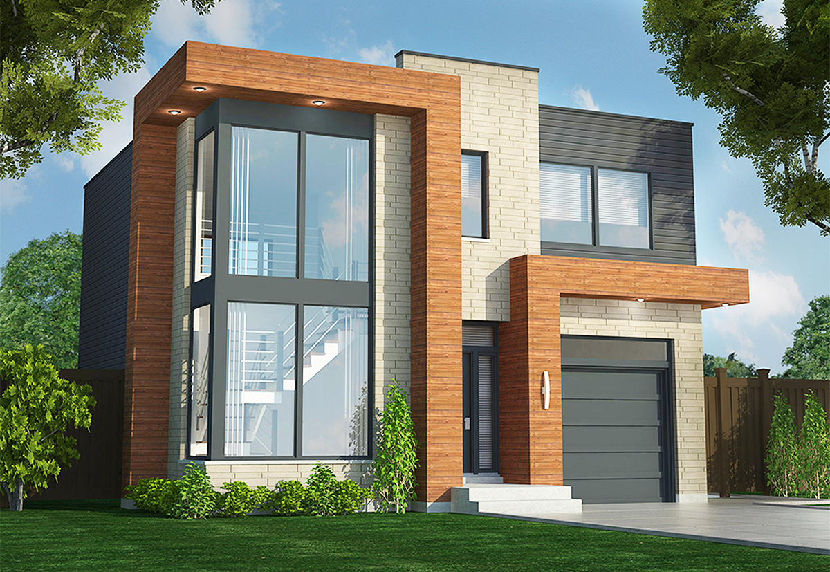 Home Design 3d Front Elevation House Design: Contemporary Duplex - 90290PD