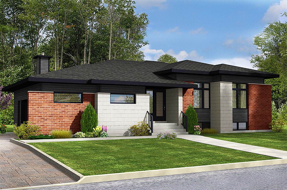 3 bed modern ranch home plan 90291pd architectural for New house plans