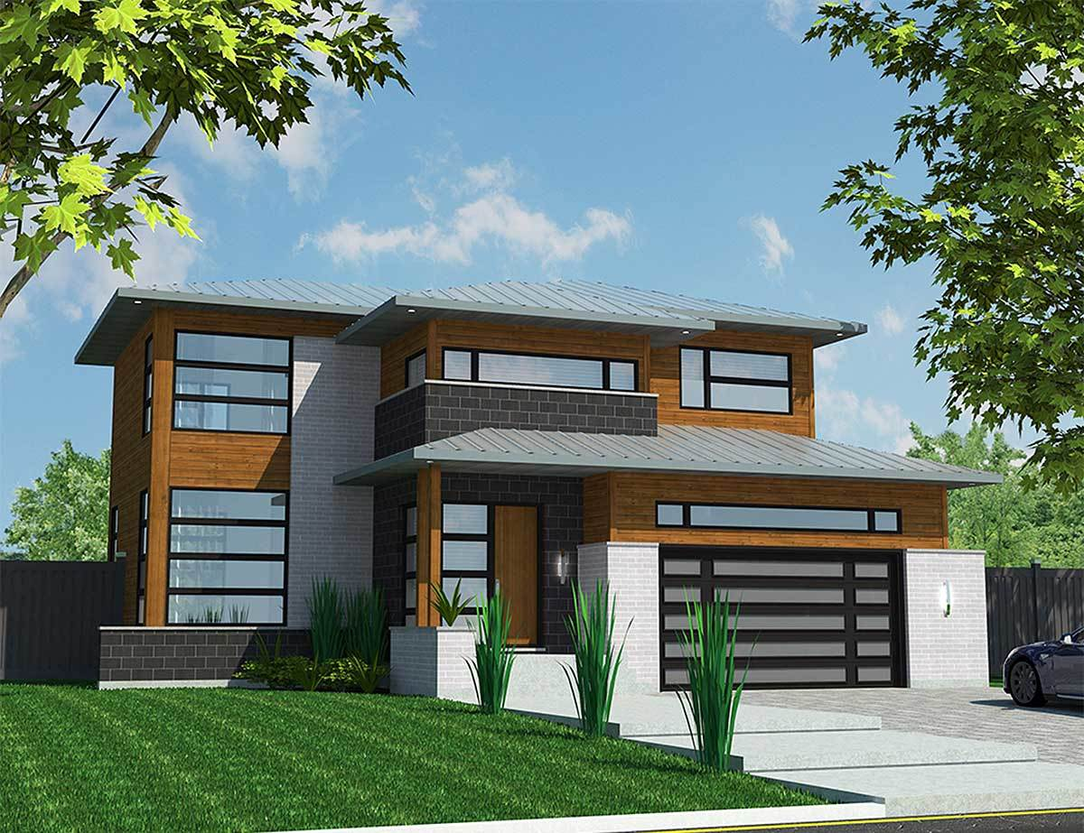 Visually Appealing Modern House Plan - 90292PD | Architectural ...