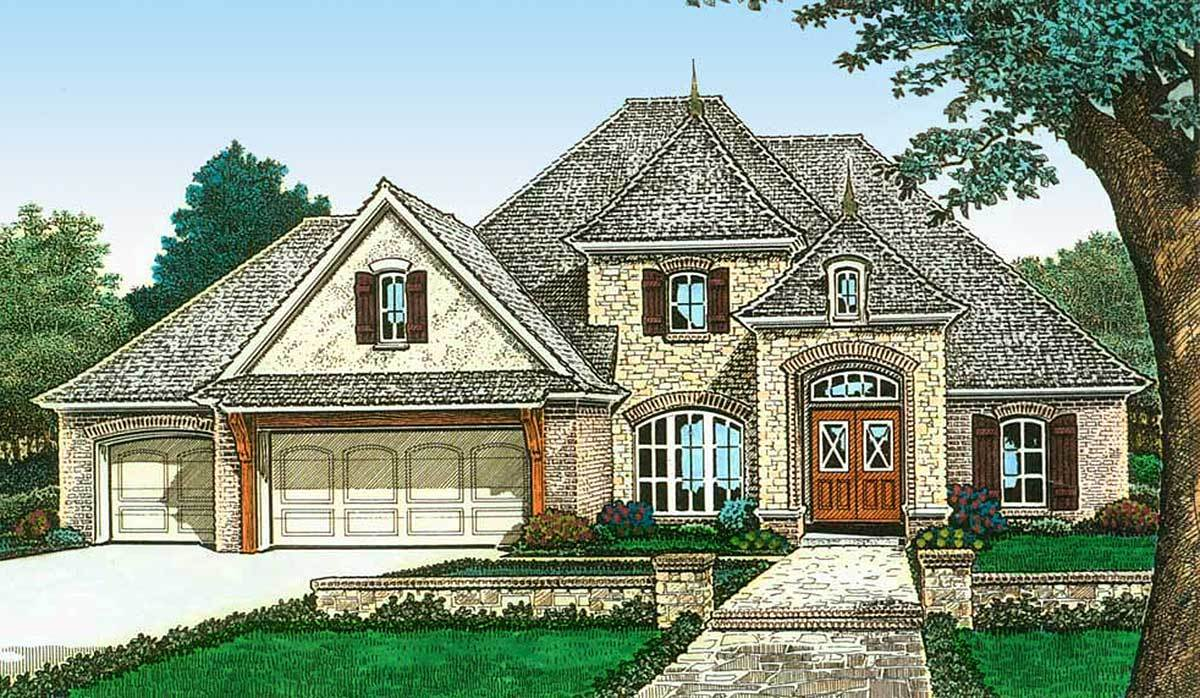 Exclusive french country made for entertaining 48531fm for Large home plans for entertaining