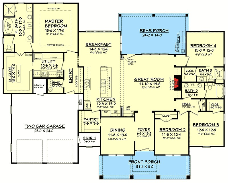 Architectural designs - Large front porch house plans space for yourself ...