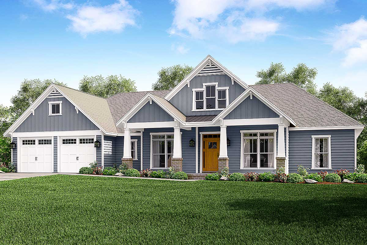 4 Bed Craftsman With Tapered Columns 51756hz