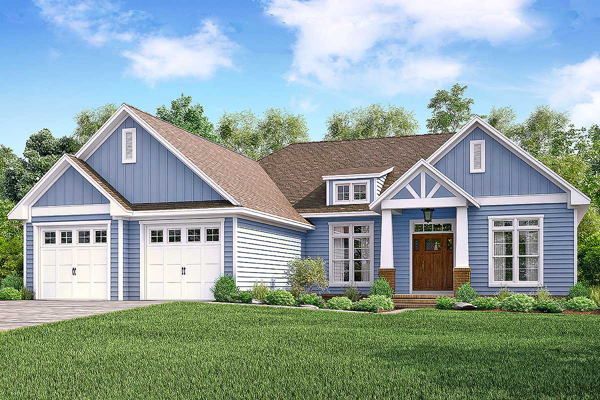 Open concept craftsman home plan with flex space 51757hz for Craftsmen homes