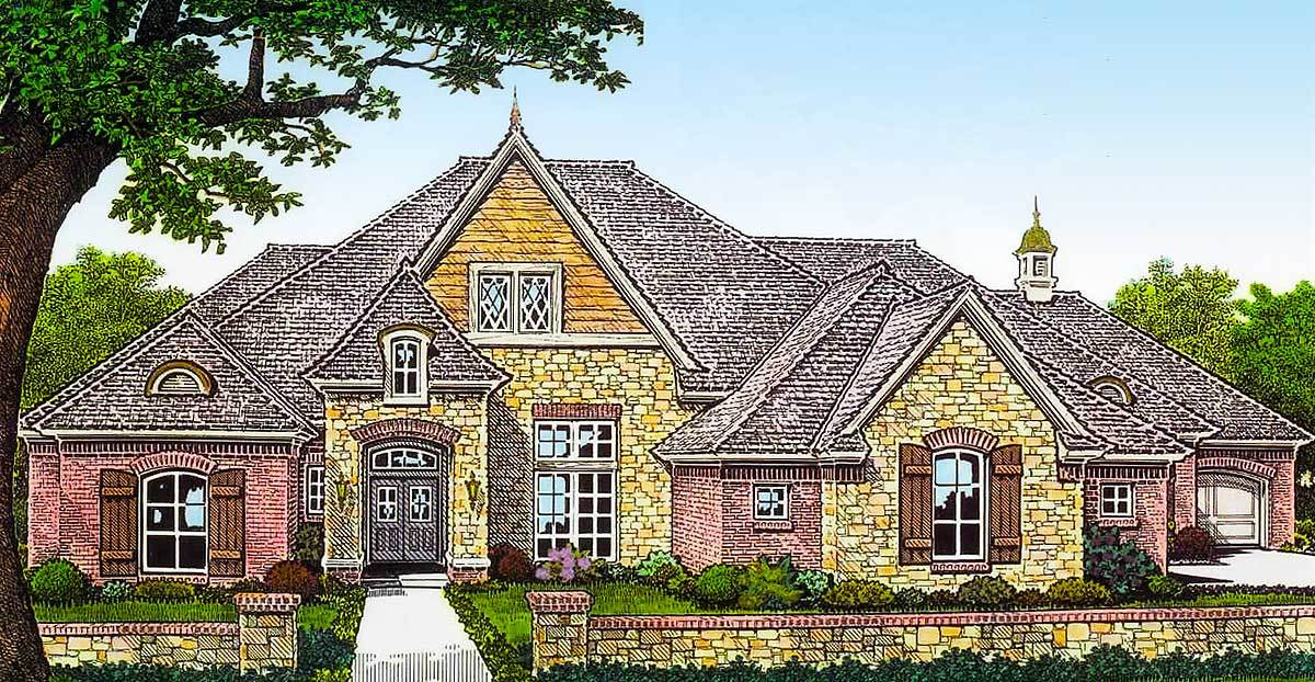 Exclusive french country house plan with separate garages for Large french country house plans