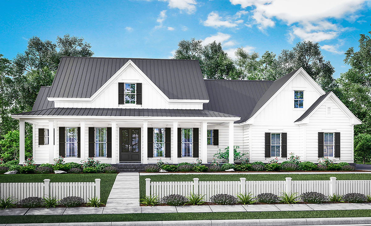 Three bed farmhouse with optional bonus room 51758hz architectural designs house plans for Architecture design house plans