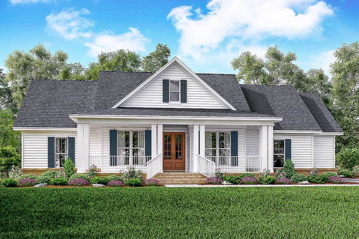 Classic 3 bed country farmhouse plan 51761hz for Farmhouse plans with pictures