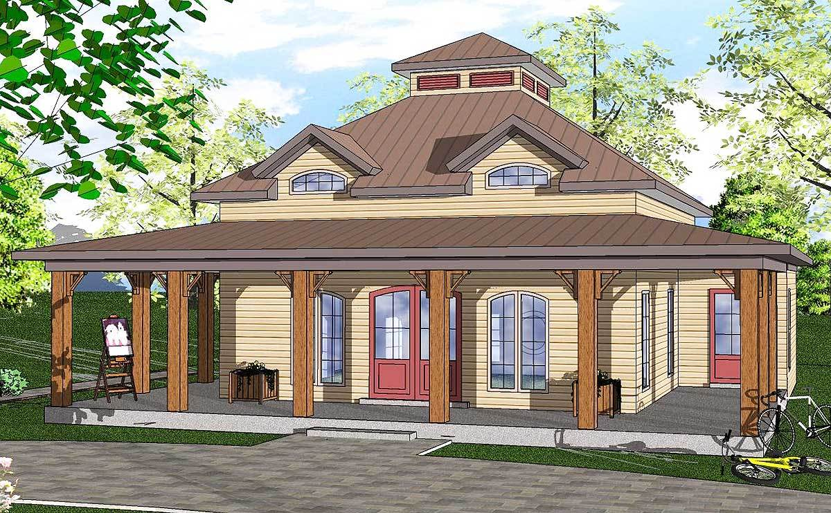Florida house plan with wrap around porch 530003ukd for Florida house plans