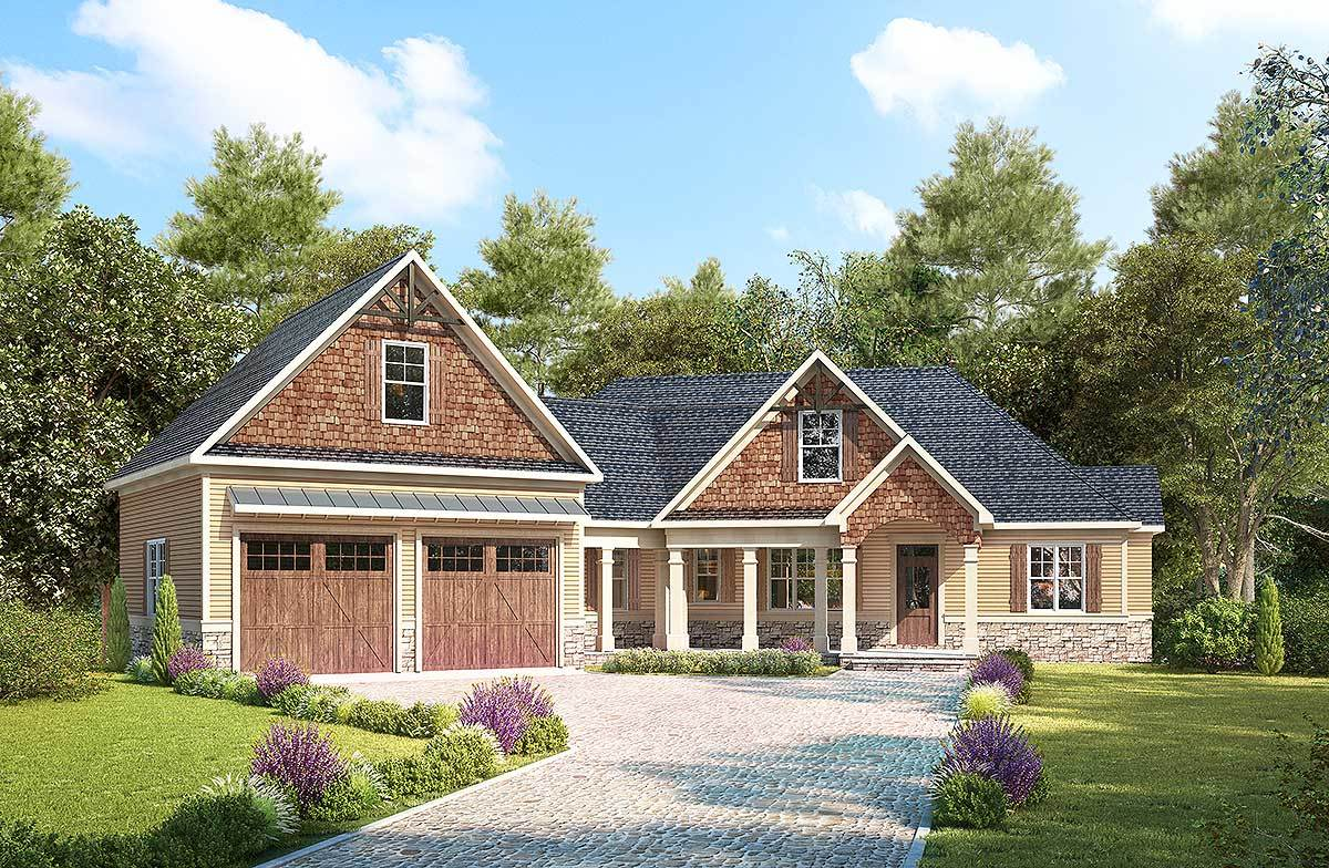 Craftsman with angled garage with bonus room above for Angled garage house plans