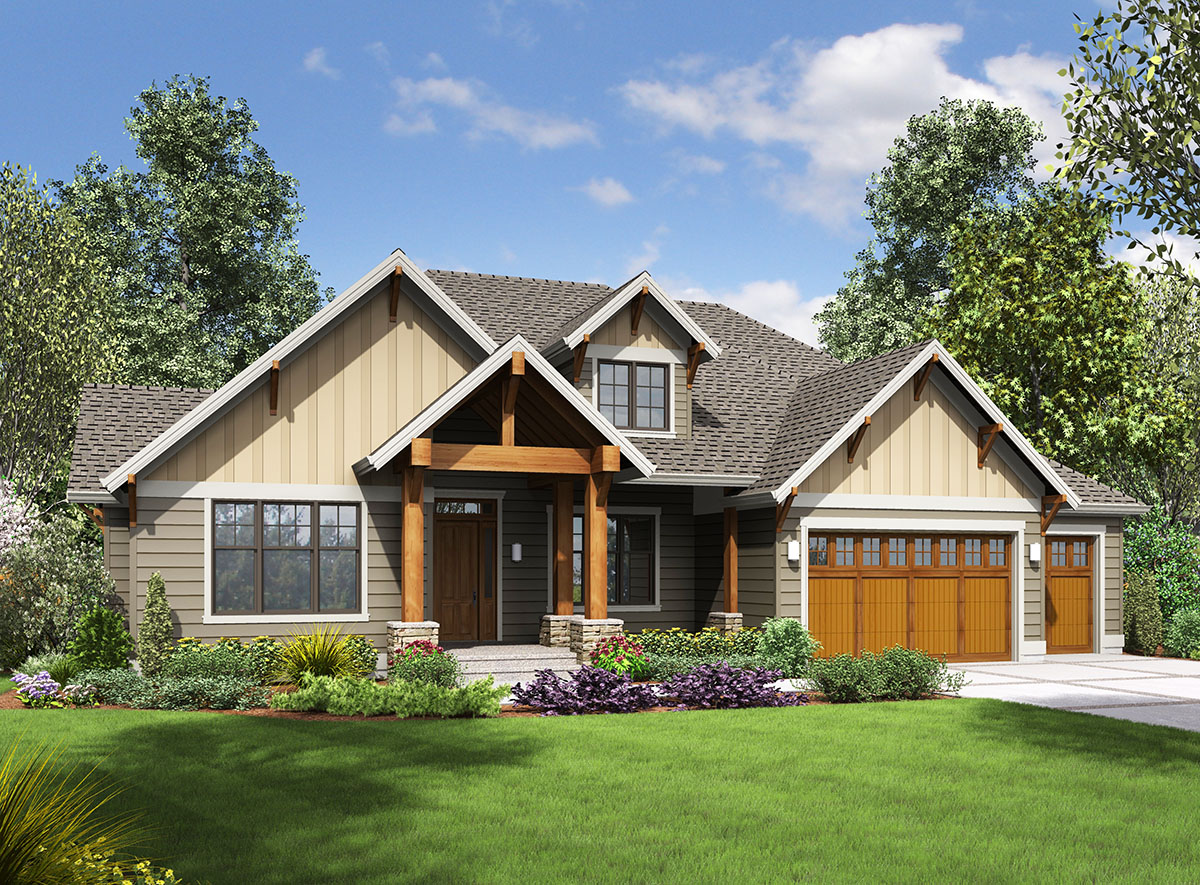 One story craftsman with finished lower level 69642am for 1 5 story craftsman house plans