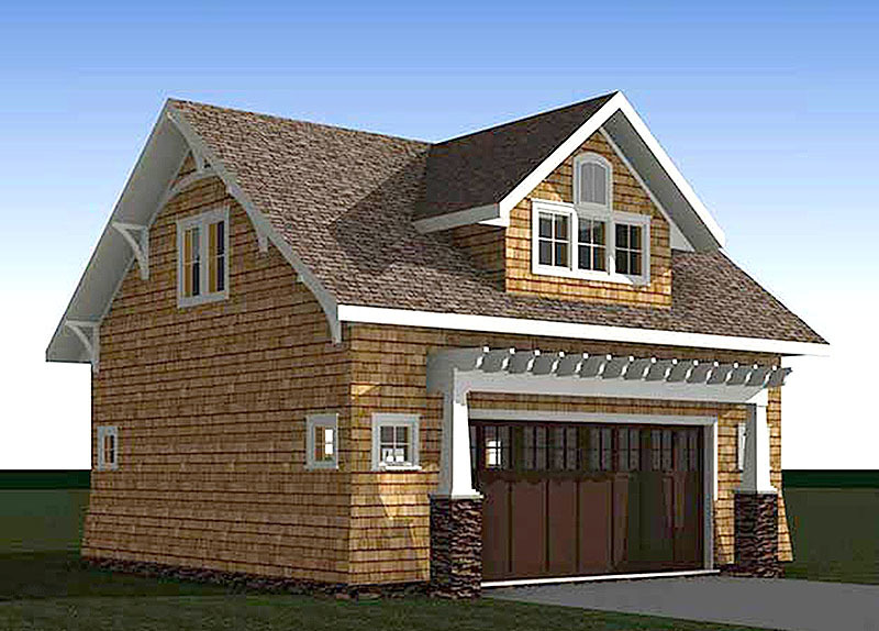 Craftsman Carriage House Plan With Vaulted Second Floor