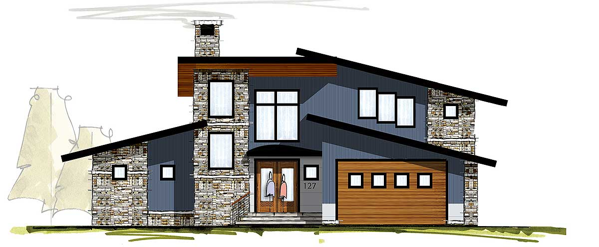 Modern house plan with two story great room 18830ck for 2 story great room house plans