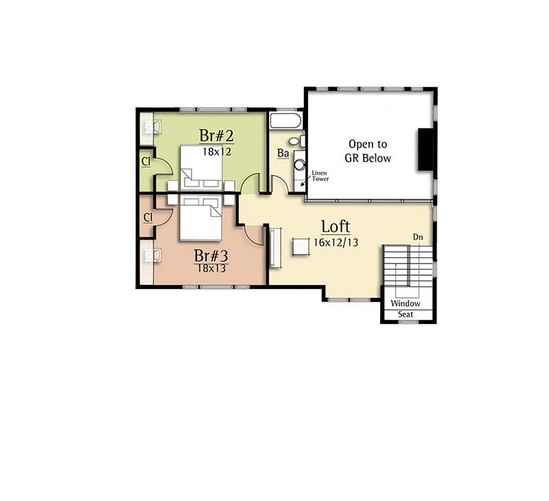 Modern house plan with two story great room 18831ck for Great room floor plans