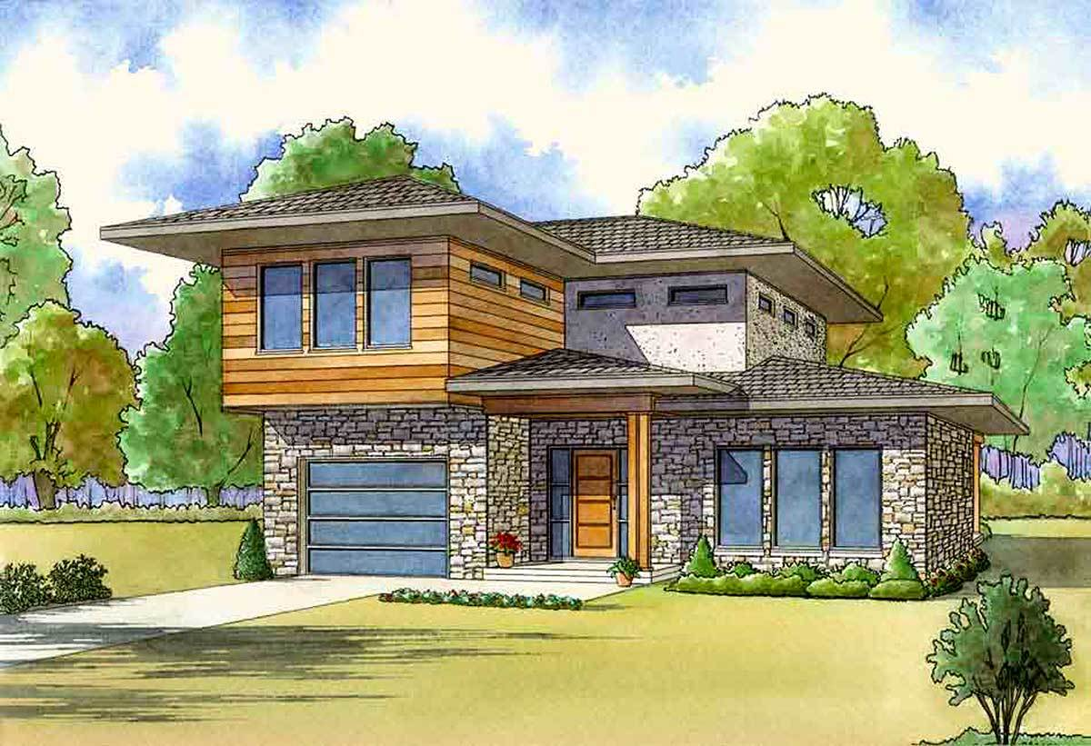 Master up modern house plan with one car garage 70546mk for Master up house plans