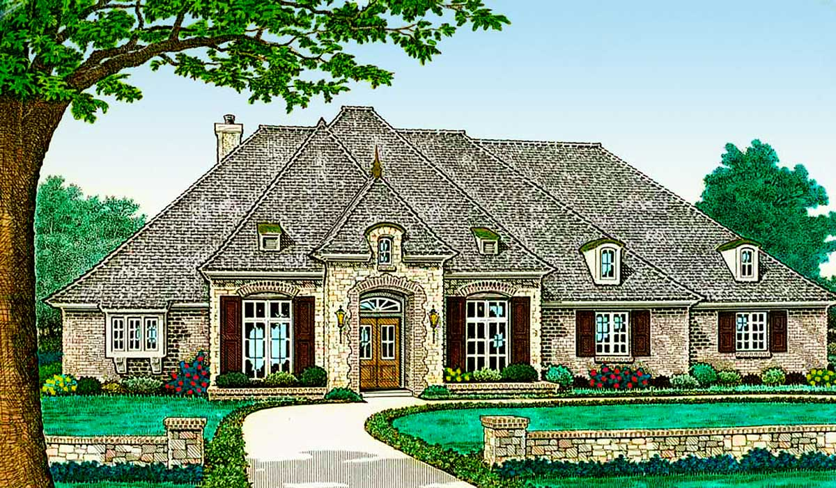 Split bedroom french country house plan 48541fm 1st for French country home plans with photos