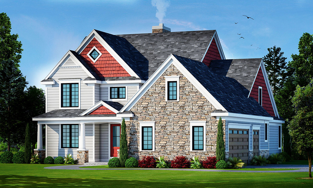 Traditional House Plan With Two-Story Ceilings